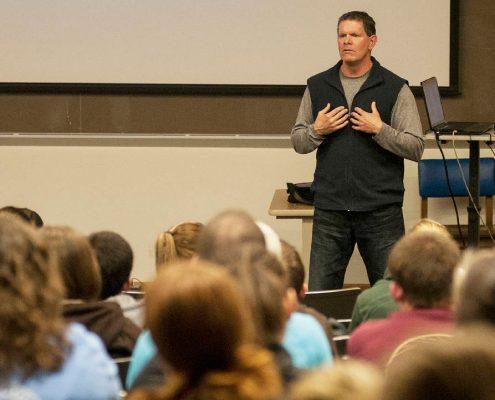 Jim Marshall speaks to William Woods students